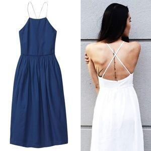 Aritzia Le Fou Wilfred Hymne Linen Dress Blue 2